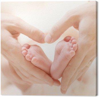 Canvastavla Tiny Nyfött barn fötter på kvinnliga Heart Shaped händer närbild
