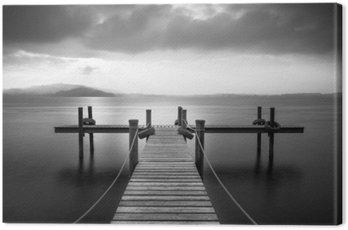 Canvastavla Träbrygga på sjön Zug, Schweiz. Lång exponering. Svartvitt.