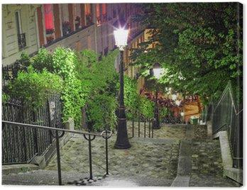Canvastavla Trappor på väg till basilikan Sacré-Coeur. Paris.