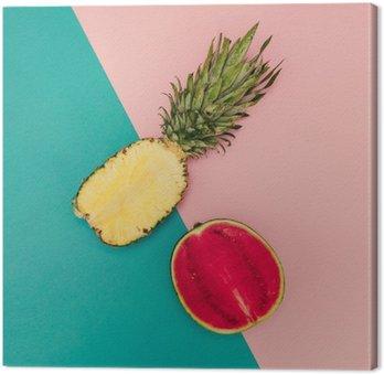 Canvastavla Tropical Mix. Ananas och vattenmelon. minimal stil