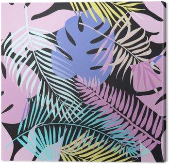 Canvastavla Tropiska exotiska blommor och växter med gröna blad av palm.