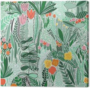 Canvastavla Tropiska sömlösa blommönster