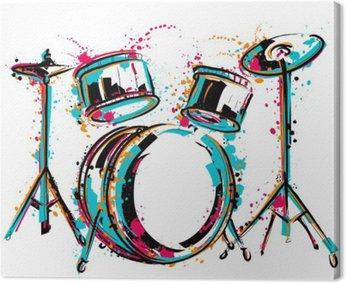 Canvastavla Trumset med stänk i akvarell stil. Färgrik handritad vektor illustration