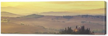 Canvastavla Tuscan höst landskap, retro färger, vintage