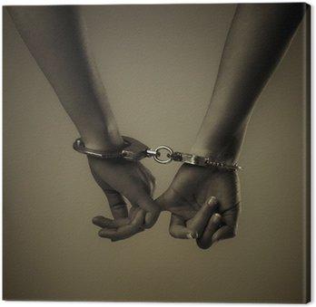 Canvastavla Två flicka hand och handfängsel