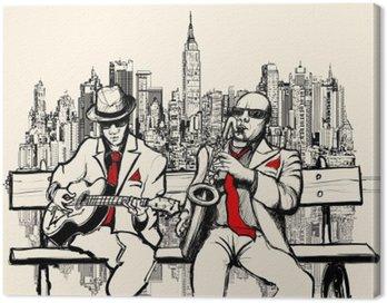 Canvastavla Två jazz män spelar i New York