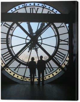 Canvastavla Två personer silhuett av en stor klocka