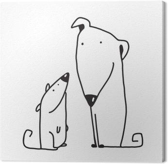 Canvastavla Två tecknad brun hund förälder och barn