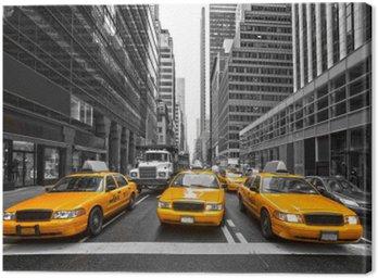 Canvastavla TYellow taxibilar i New York City, USA.