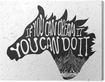 Canvastavla Typografi affisch med häst huvud silhuett och berg