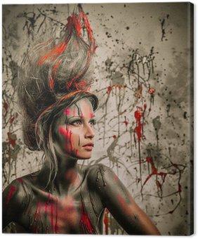 Canvastavla Ung kvinna musa med kreativa kroppen konst och frisyr
