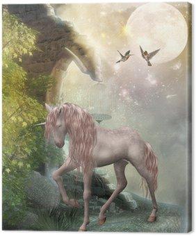 Canvastavla Unicorn i månskenet