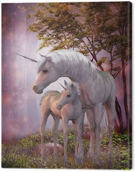 Canvastavla Unicorn Mare och föl
