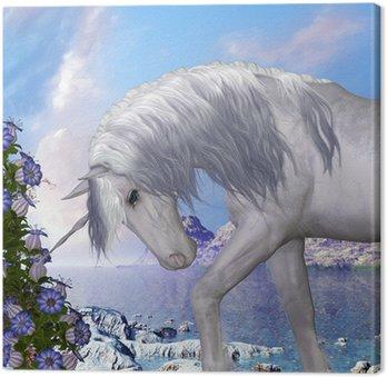 Canvastavla Unicorn och Blue Bell Flowers