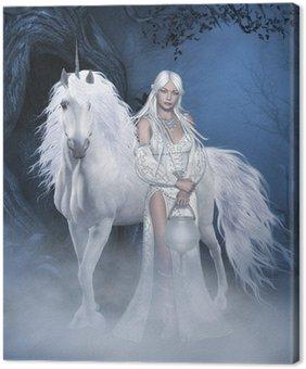 Canvastavla Unicorn och vackra fe