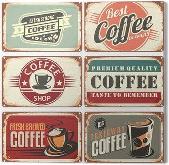 Canvastavla Uppsättning av vintage kaffe plåtskyltar