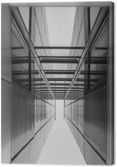 Canvastavla Urban geometri, tittar upp till glasbyggnad. Modern arkitektur, glas och stål. Abstrakt arkitektur. Inspirera, konstnärlig bild. Industridesign. .Modern Byggnad. Svartvitt.