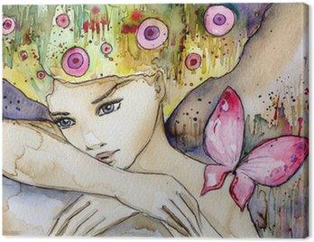 Canvastavla Vacker flicka med fjäril
