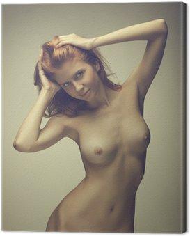 Canvastavla Vacker flicka poserar naken
