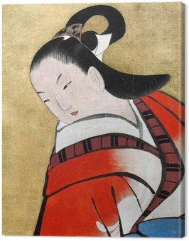 Canvastavla Vacker japansk kvinna som bär traditionella Kimon