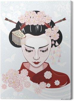 Canvastavla Vacker japansk kvinna
