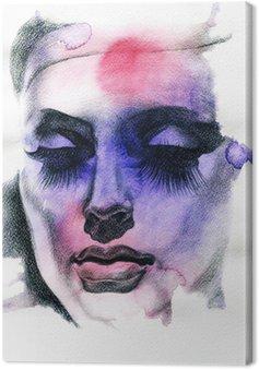 Canvastavla Vacker kvinna. Handmålade modeillustration