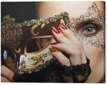Canvastavla Vacker kvinna i mask