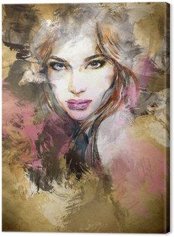 Canvastavla Vacker kvinna inför. akvarell illustration