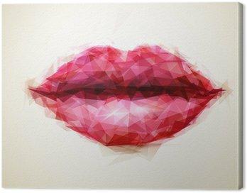 Canvastavla Vacker kvinna läppar bildade av abstrakta trianglar