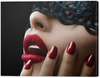 Canvastavla Vacker kvinna med svart spets mask över hennes ögon