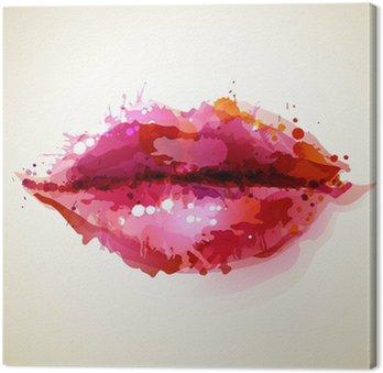 Canvastavla Vacker kvinnas läppar bildade av abstrakta blöts