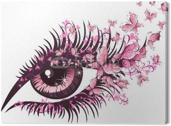 Canvastavla Vacker kvinnlig öga med fjärilar