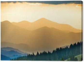 Canvastavla Vacker solnedgång i fjällen
