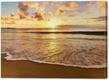 Canvastavla Vacker solnedgång på stranden