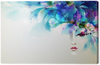 Canvastavla Vackra abstrakta kvinnor med abstrakta designelement