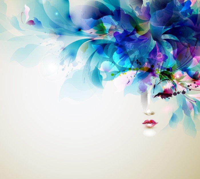 Canvastavla Vackra abstrakta kvinnor med abstrakta designelement - Mode