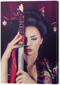 Canvastavla Vackra geisha i kimono med samurajsvärd