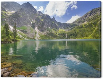 Canvastavla Vackra landskap i Tatrabergen och sjö i Polen