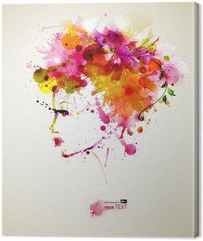 Canvastavla Vackra mode kvinnor med abstrakta hår och designelement