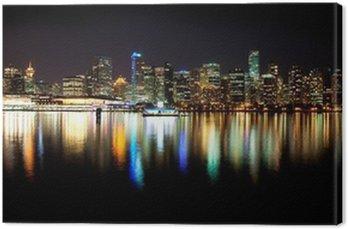 Canvastavla Vancouver skyline på natten