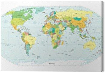 Canvastavla Världen karta politiska gränser