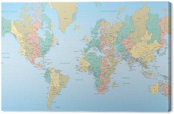 Canvastavla Världskarta med tidszoner