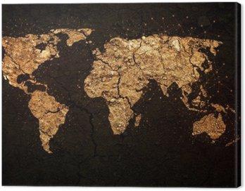 Canvastavla Världskarta på grunge bakgrund