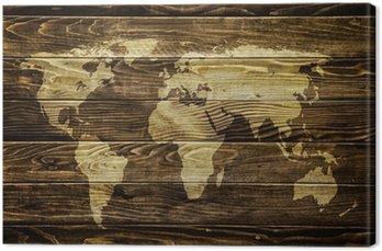 Canvastavla Världskarta på trä bakgrund
