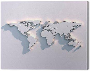 Canvastavla Världskarta relief på väggen