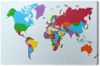 Canvastavla Världskartan, färgstarka länder atlas EPS10 vektor fil.