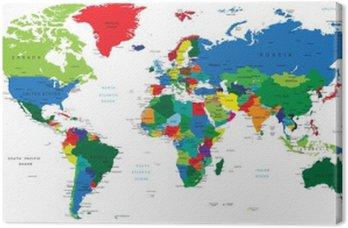 Canvastavla Världskartan-länder