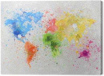 Canvastavla Världskartan målning