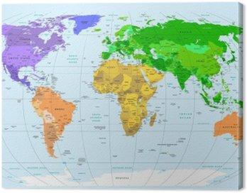 Canvastavla Världskartan