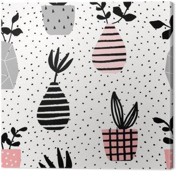 Canvastavla Vaser och krukor Seamless mönster
